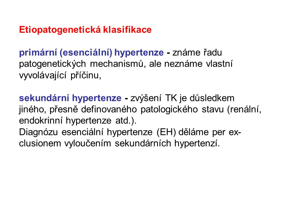 Etiopatogenetická klasifikace