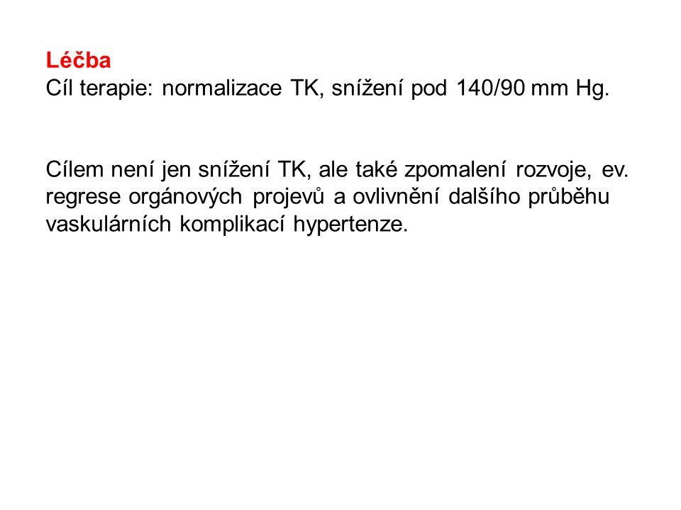 Léčba Cíl terapie: normalizace TK, snížení pod 140/90 mm Hg.