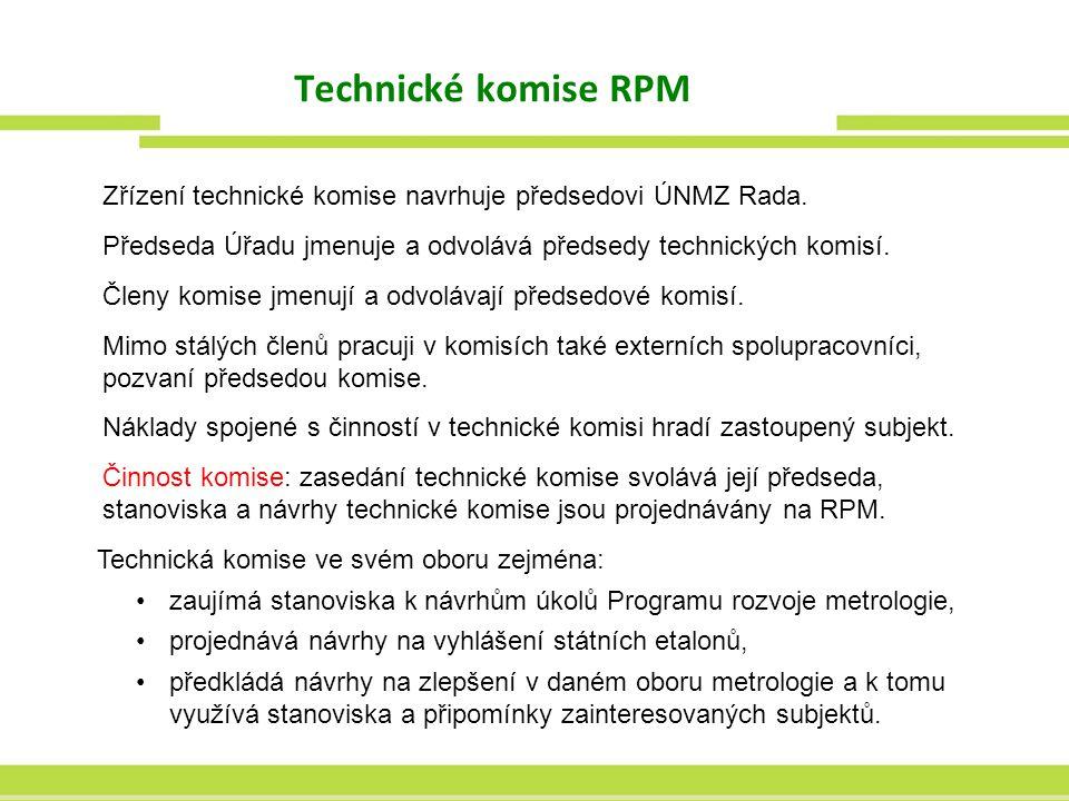 Technické komise RPM Zřízení technické komise navrhuje předsedovi ÚNMZ Rada. Předseda Úřadu jmenuje a odvolává předsedy technických komisí.