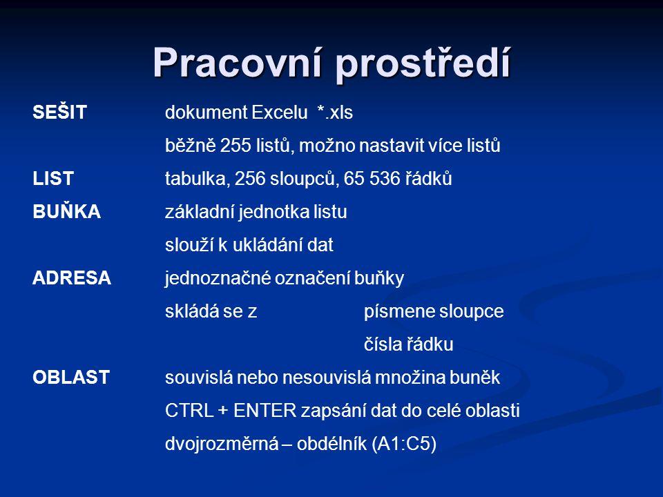 Pracovní prostředí SEŠIT dokument Excelu *.xls
