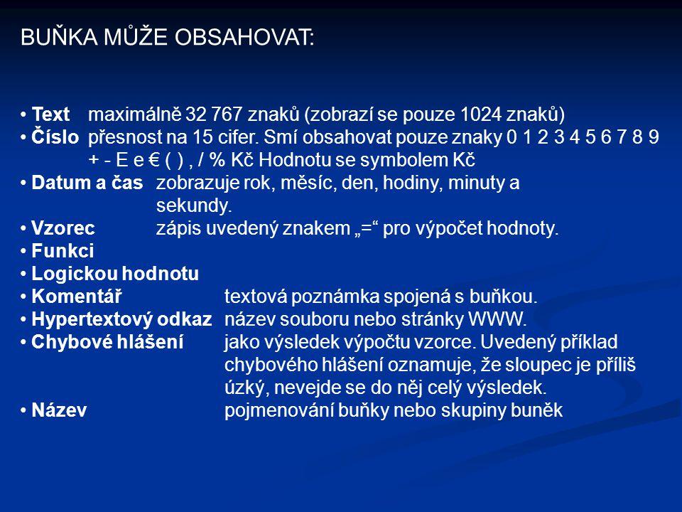 BUŇKA MŮŽE OBSAHOVAT: Text maximálně 32 767 znaků (zobrazí se pouze 1024 znaků)