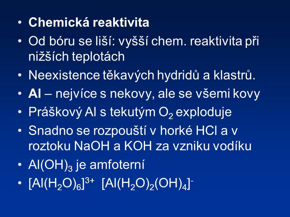 Chemická reaktivita Od bóru se liší: vyšší chem. reaktivita při nižších teplotách. Neexistence těkavých hydridů a klastrů.