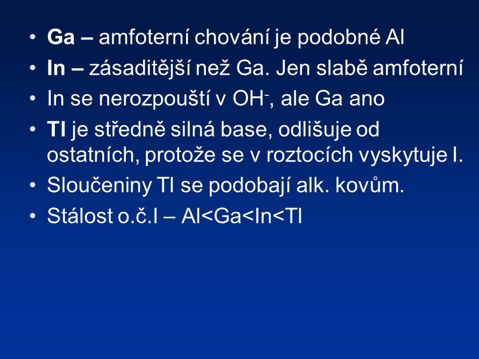 Ga – amfoterní chování je podobné Al