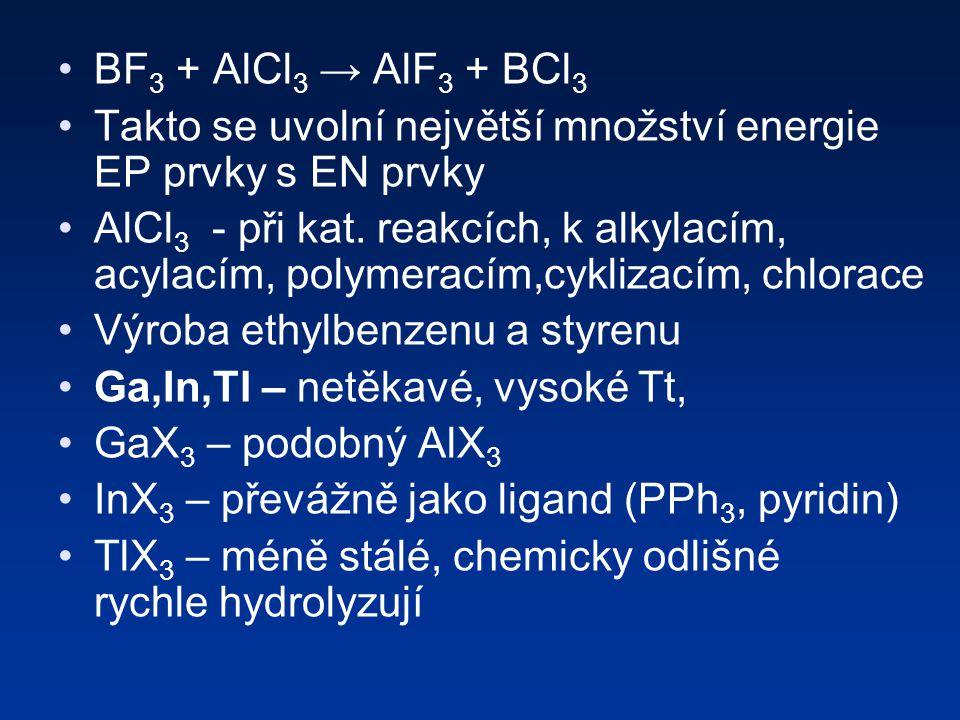 BF3 + AlCl3 → AlF3 + BCl3 Takto se uvolní největší množství energie EP prvky s EN prvky.