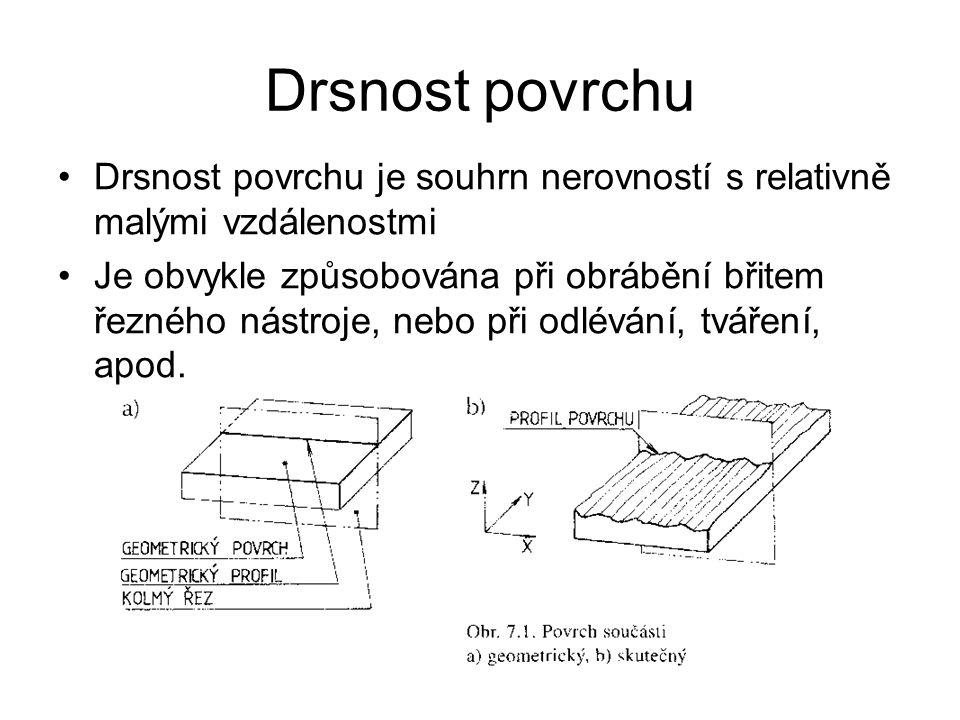 Drsnost povrchu Drsnost povrchu je souhrn nerovností s relativně malými vzdálenostmi.