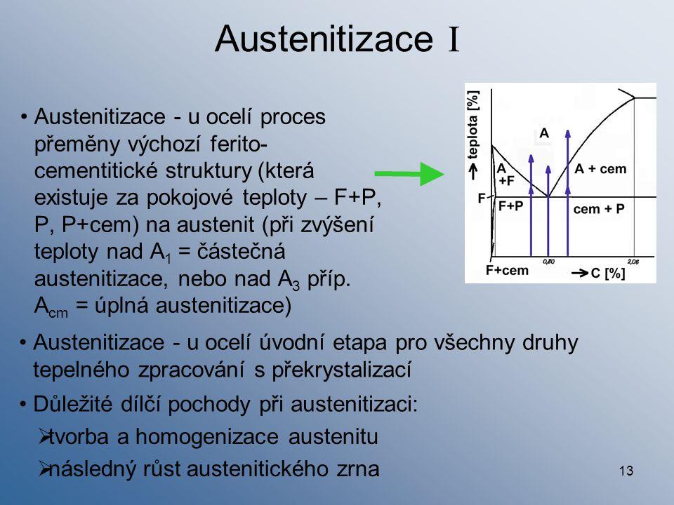 Austenitizace I Austenitizace - u ocelí úvodní etapa pro všechny druhy tepelného zpracování s překrystalizací.