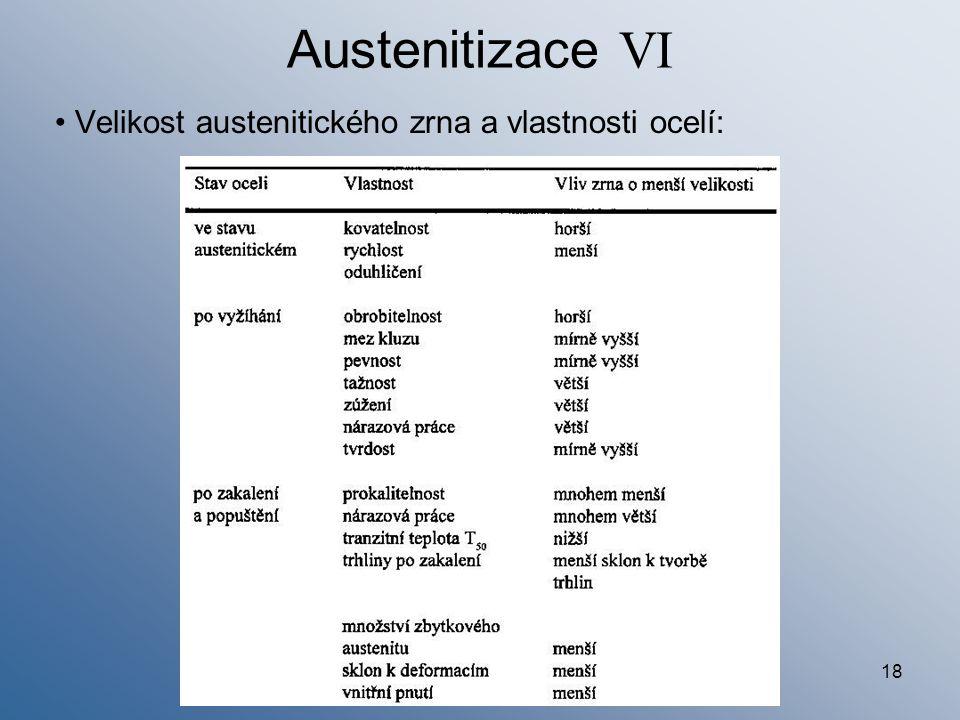Austenitizace VI Velikost austenitického zrna a vlastnosti ocelí: