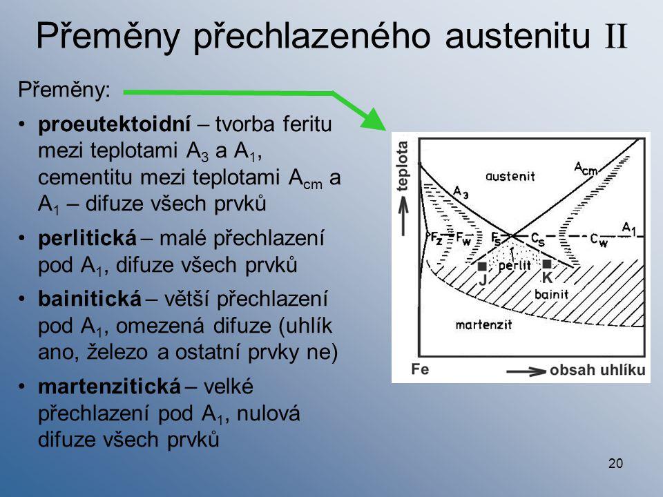 Přeměny přechlazeného austenitu II