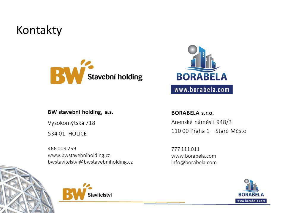 Kontakty BW stavební holding, a.s. Vysokomýtská 718 534 01 HOLICE