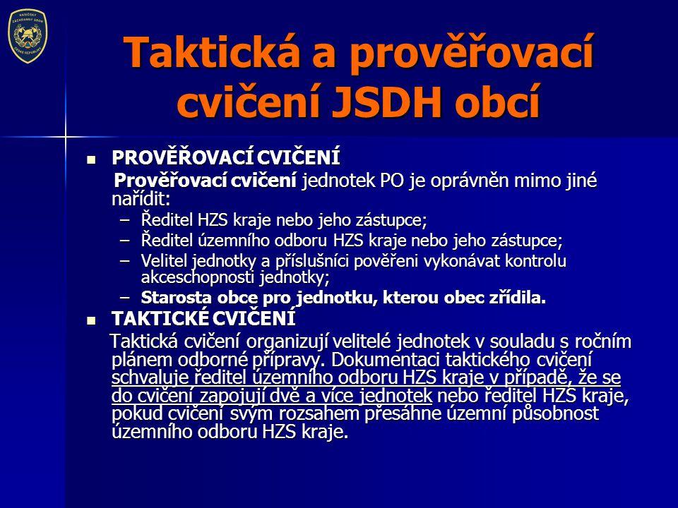 Taktická a prověřovací cvičení JSDH obcí