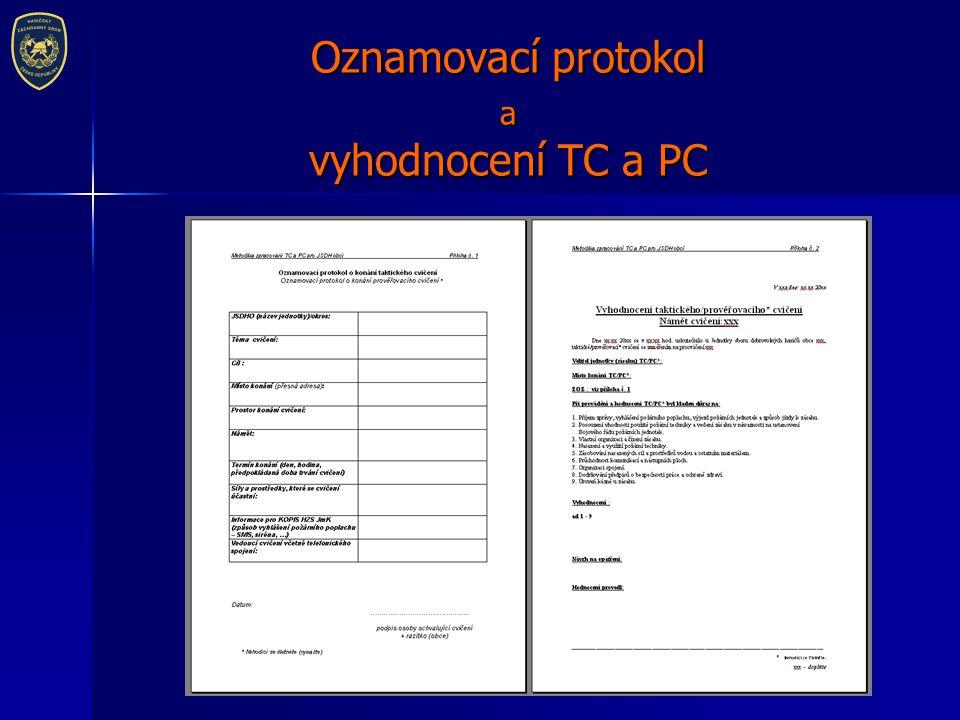 Oznamovací protokol a vyhodnocení TC a PC