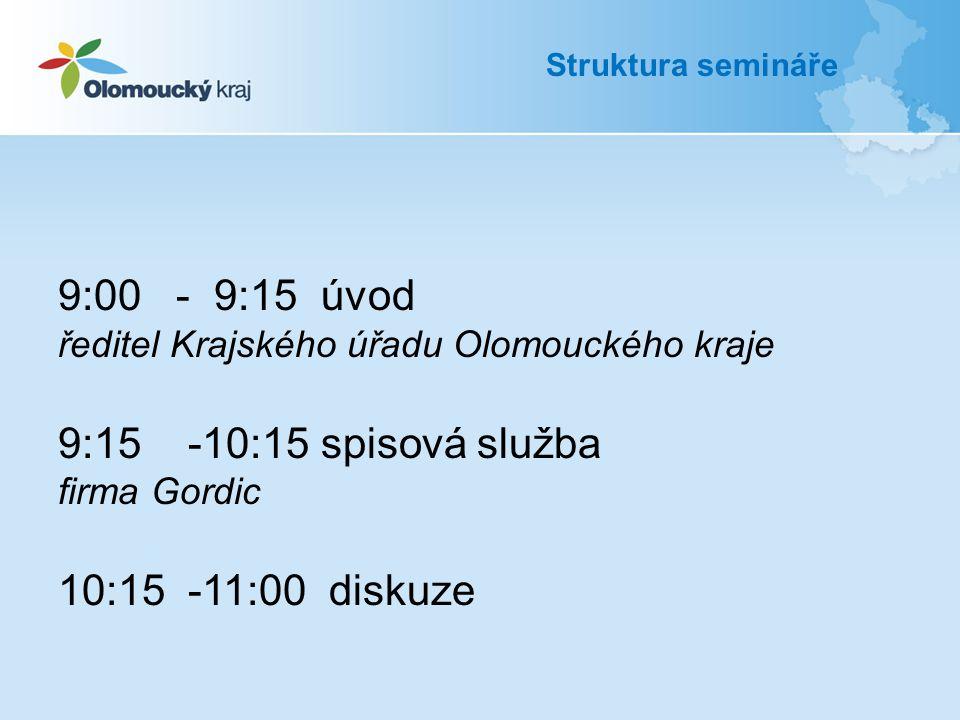 9:00 - 9:15 úvod ředitel Krajského úřadu Olomouckého kraje