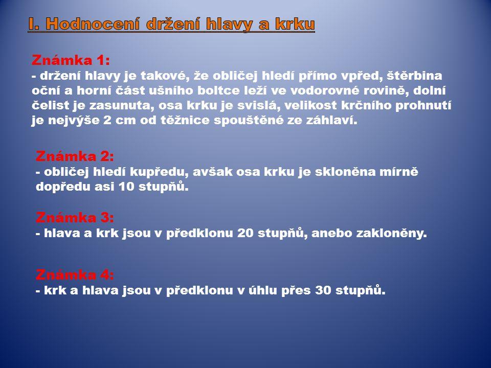 I. Hodnocení držení hlavy a krku