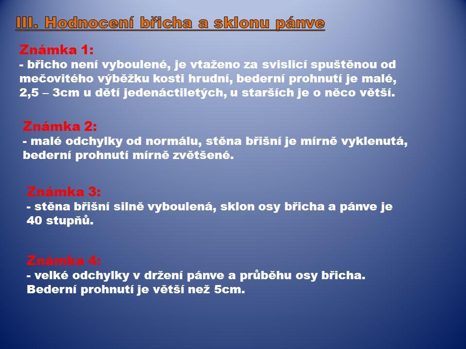 III. Hodnocení břicha a sklonu pánve