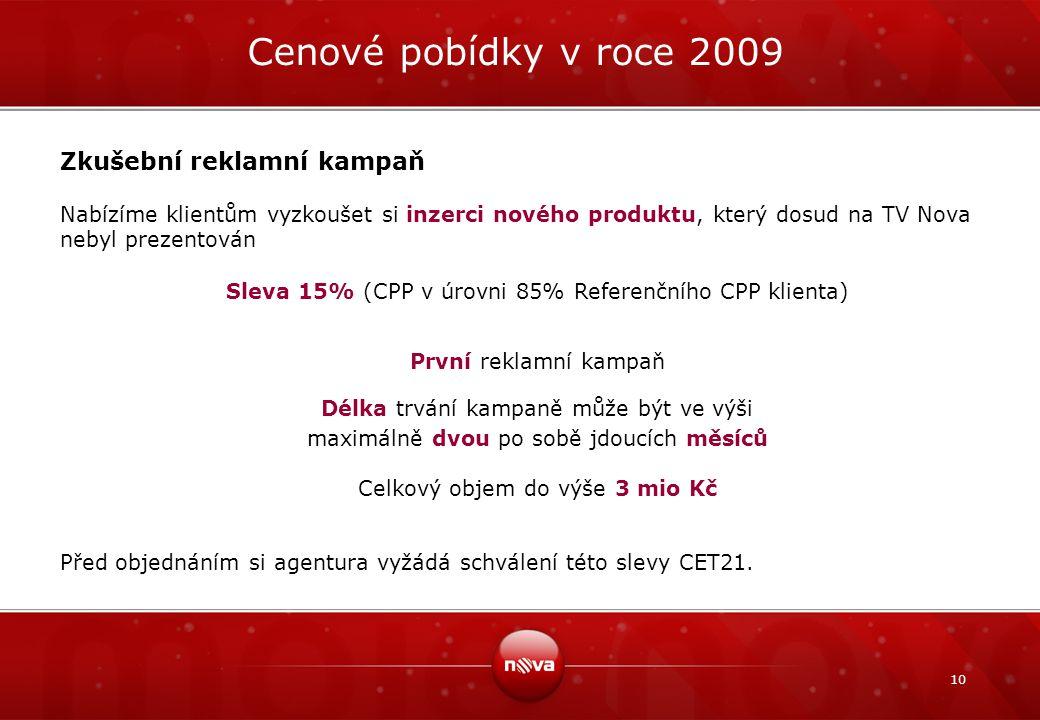 Cenové pobídky v roce 2009 Zkušební reklamní kampaň