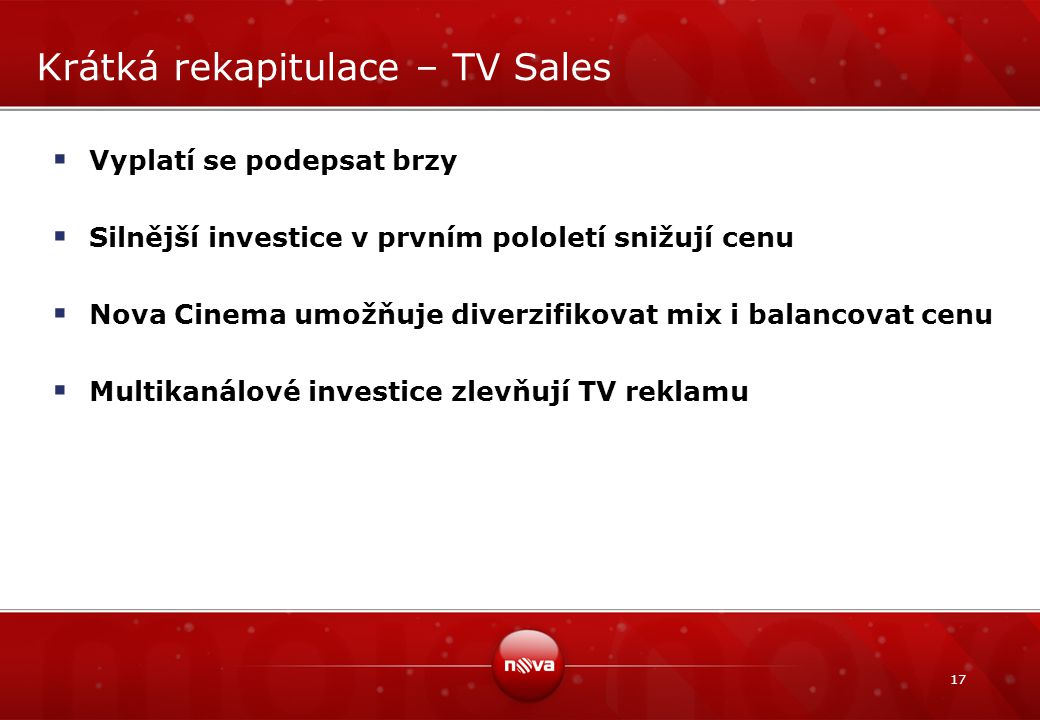 Krátká rekapitulace – TV Sales