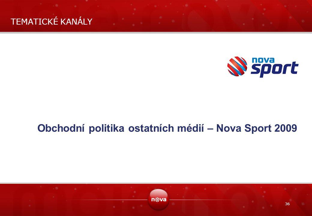 Obchodní politika ostatních médií – Nova Sport 2009