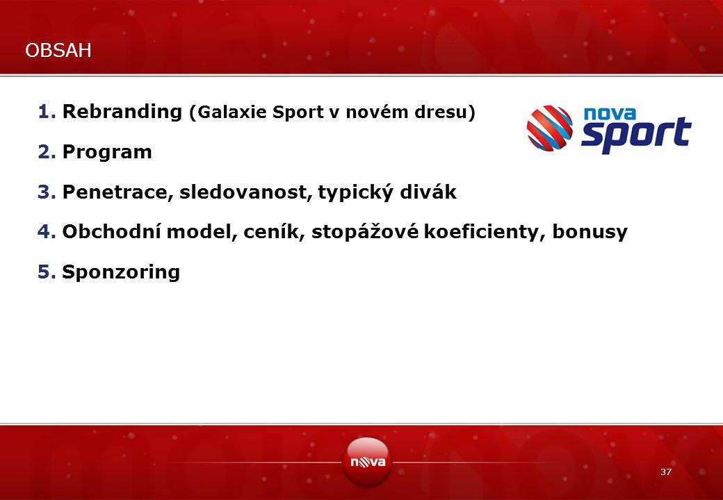 OBSAH Rebranding (Galaxie Sport v novém dresu) Program. Penetrace, sledovanost, typický divák.