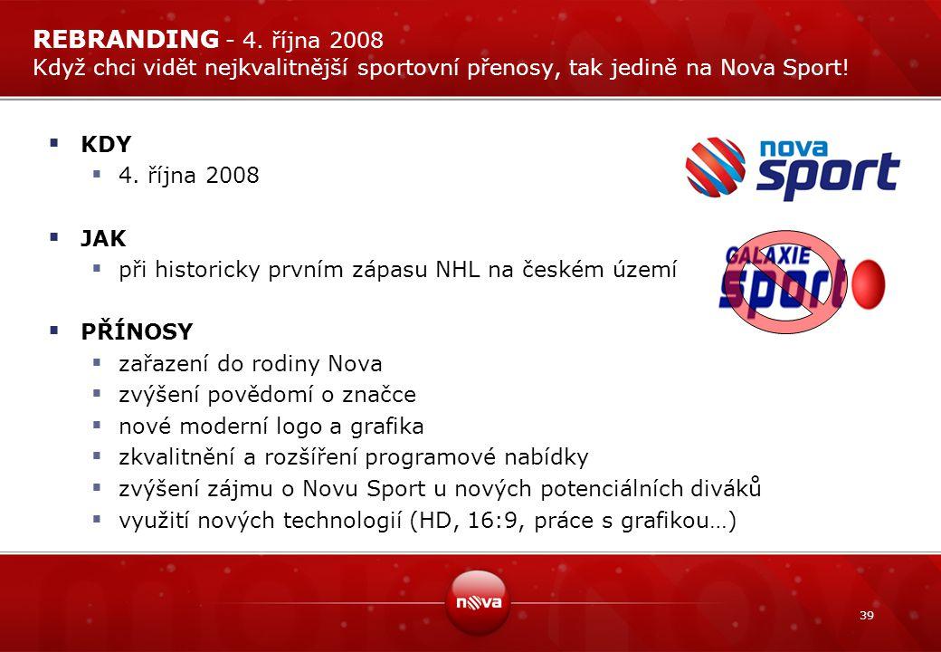 REBRANDING - 4. října 2008 Když chci vidět nejkvalitnější sportovní přenosy, tak jedině na Nova Sport!