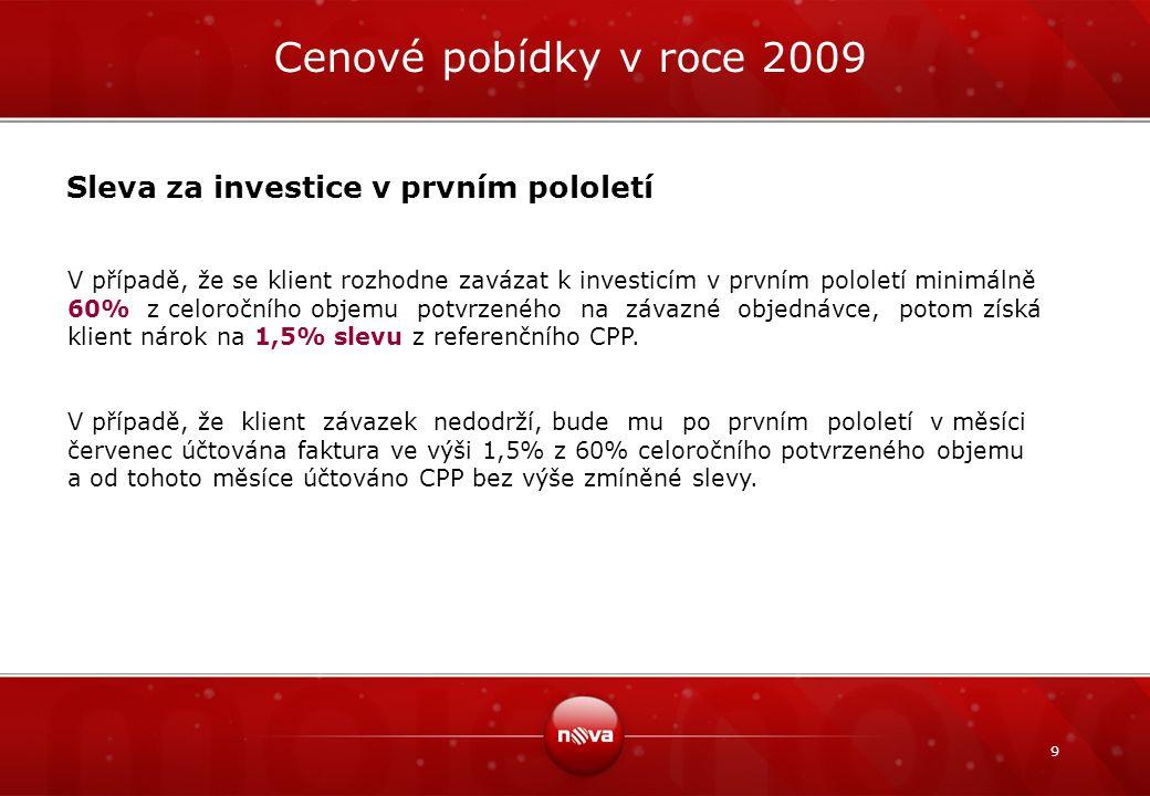 Cenové pobídky v roce 2009 Sleva za investice v prvním pololetí
