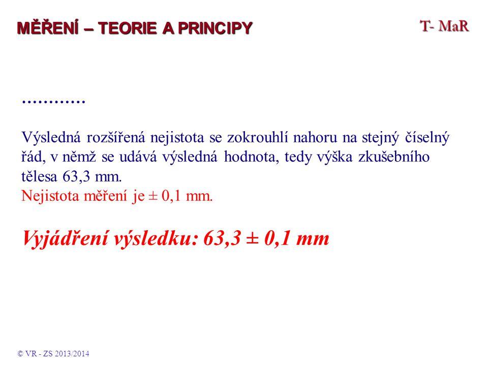 Vyjádření výsledku: 63,3 ± 0,1 mm