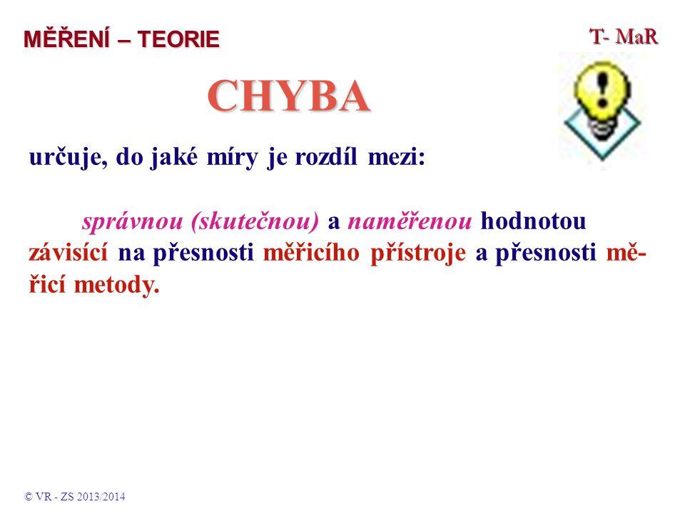 CHYBA určuje, do jaké míry je rozdíl mezi: