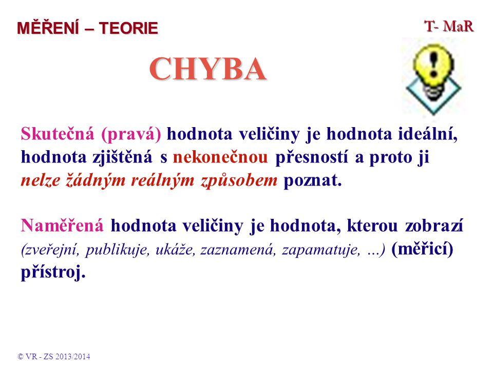 MĚŘENÍ – TEORIE T- MaR. CHYBA.
