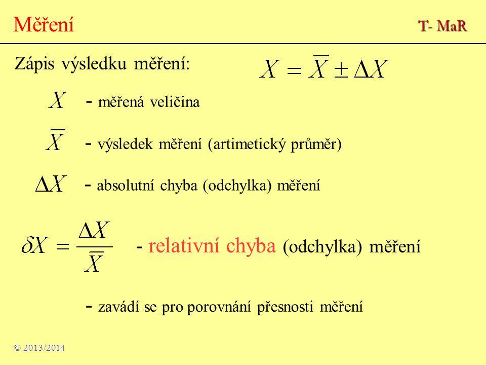 - výsledek měření (artimetický průměr)