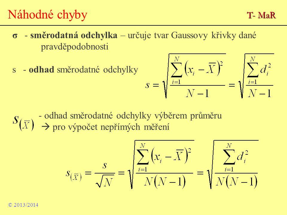 Náhodné chyby T- MaR. σ - směrodatná odchylka – určuje tvar Gaussovy křivky dané pravděpodobnosti.