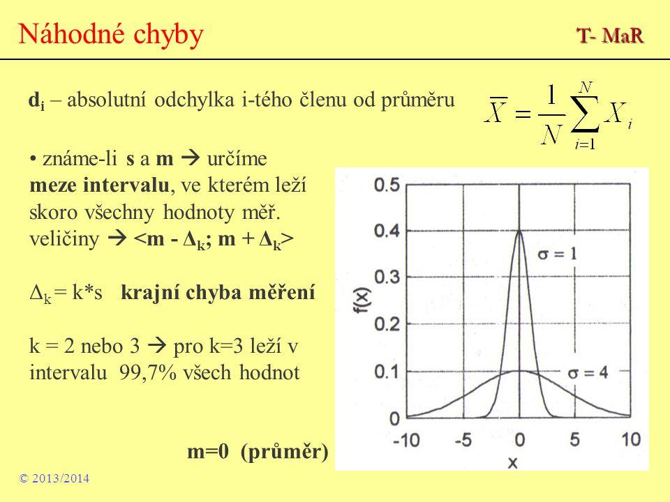 Náhodné chyby T- MaR di – absolutní odchylka i-tého členu od průměru