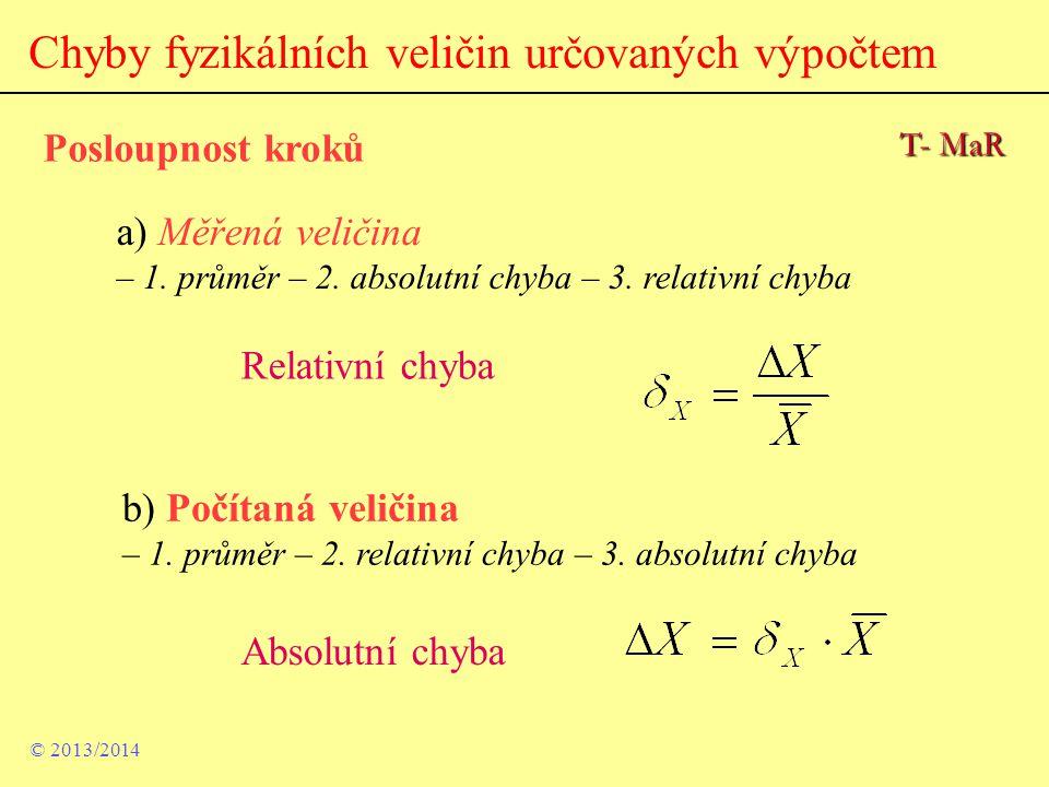 Chyby fyzikálních veličin určovaných výpočtem