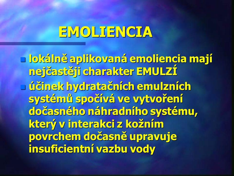 EMOLIENCIA lokálně aplikovaná emoliencia mají nejčastěji charakter EMULZÍ.