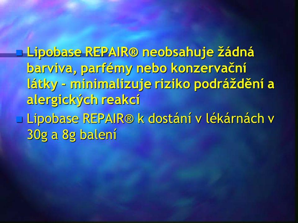 Lipobase REPAIR® neobsahuje žádná barviva, parfémy nebo konzervační látky - minimalizuje riziko podráždění a alergických reakcí