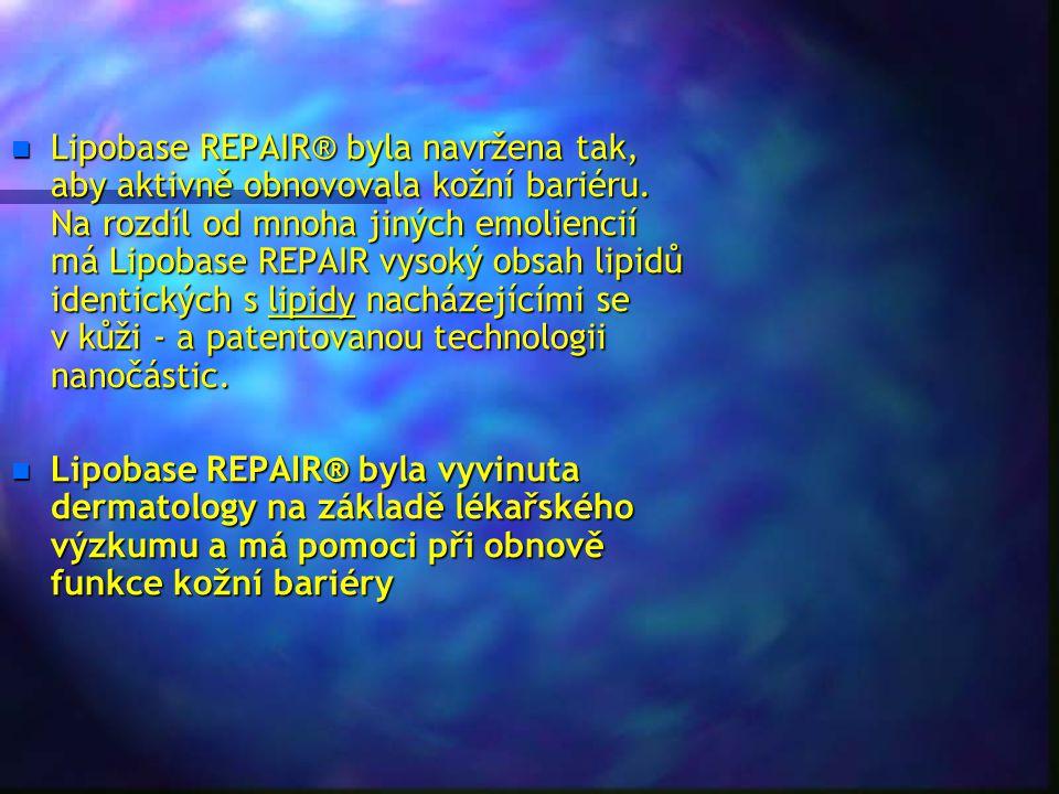 Lipobase REPAIR® byla navržena tak, aby aktivně obnovovala kožní bariéru. Na rozdíl od mnoha jiných emoliencií má Lipobase REPAIR vysoký obsah lipidů identických s lipidy nacházejícími se v kůži - a patentovanou technologii nanočástic.