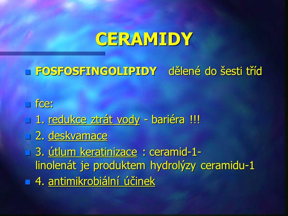 CERAMIDY FOSFOSFINGOLIPIDY dělené do šesti tříd fce: