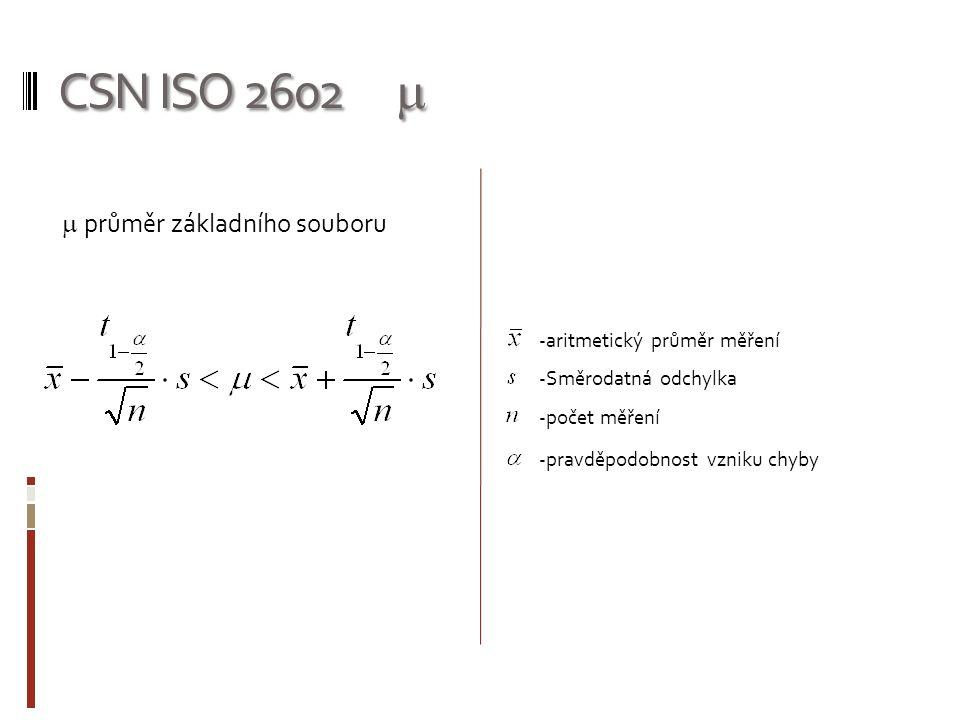 CSN ISO 2602 m m průměr základního souboru aritmetický průměr měření