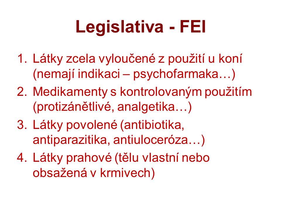 Legislativa - FEI Látky zcela vyloučené z použití u koní (nemají indikaci – psychofarmaka…)