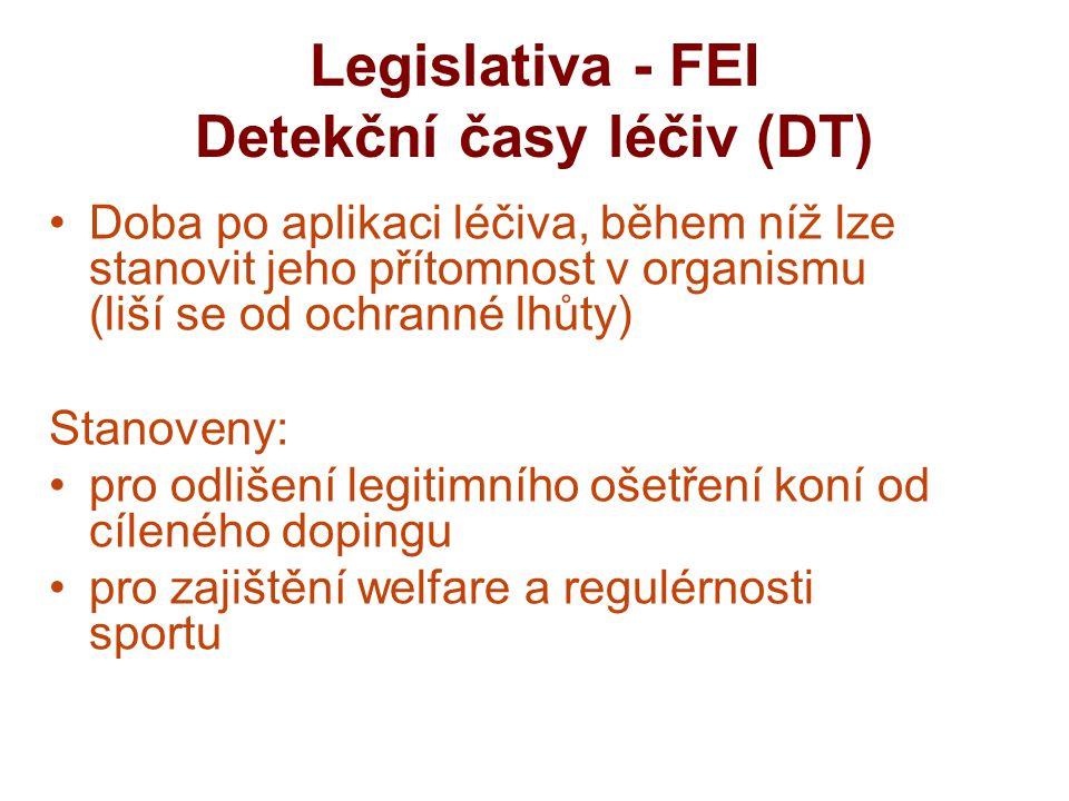 Legislativa - FEI Detekční časy léčiv (DT)