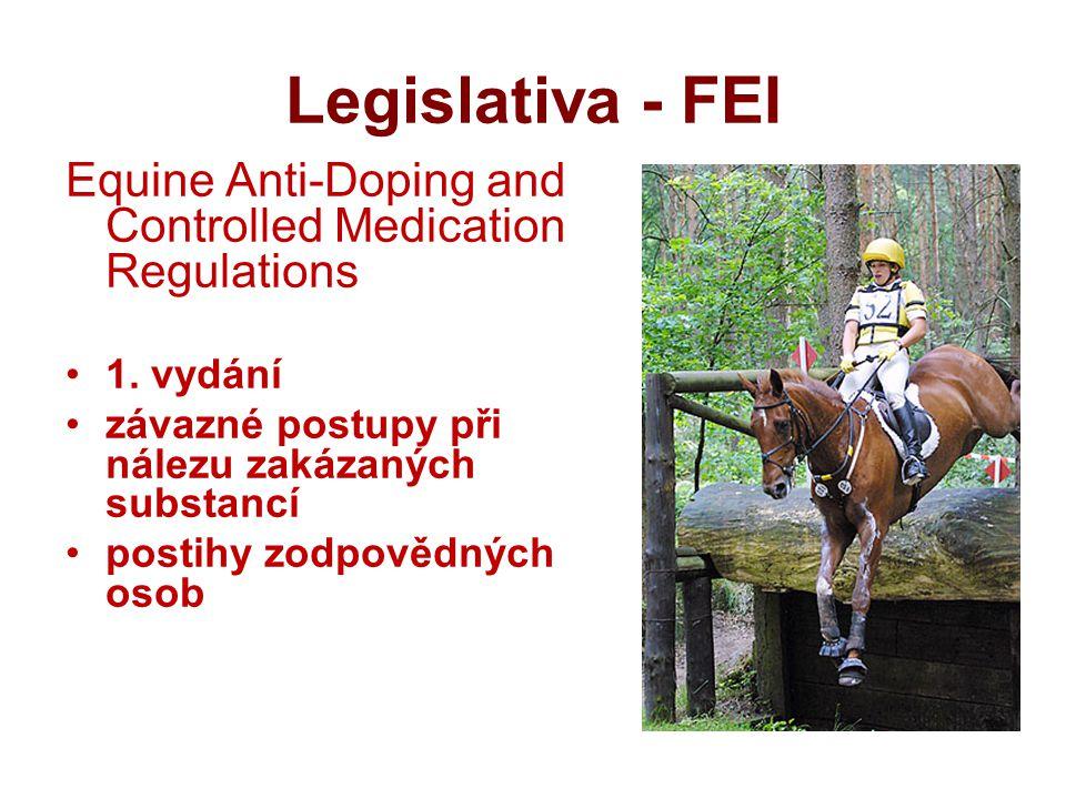 Legislativa - FEI Equine Anti-Doping and Controlled Medication Regulations. 1. vydání. závazné postupy při nálezu zakázaných substancí.