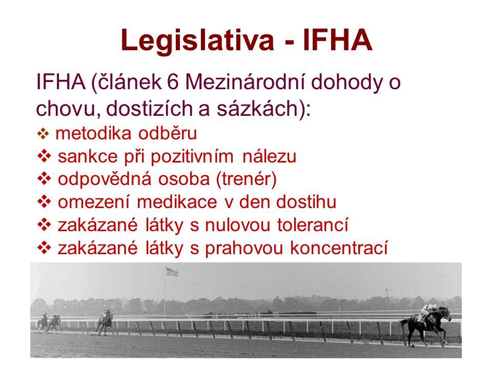 Legislativa - IFHA IFHA (článek 6 Mezinárodní dohody o chovu, dostizích a sázkách): metodika odběru.