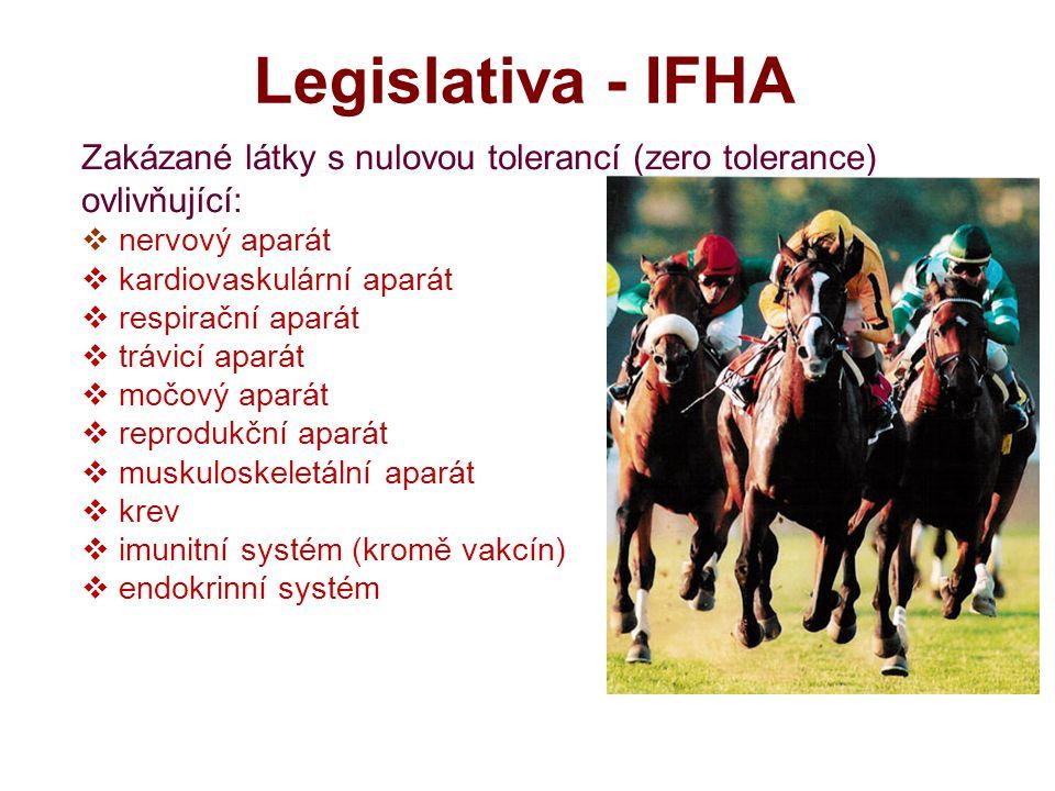 Legislativa - IFHA Zakázané látky s nulovou tolerancí (zero tolerance) ovlivňující: nervový aparát.