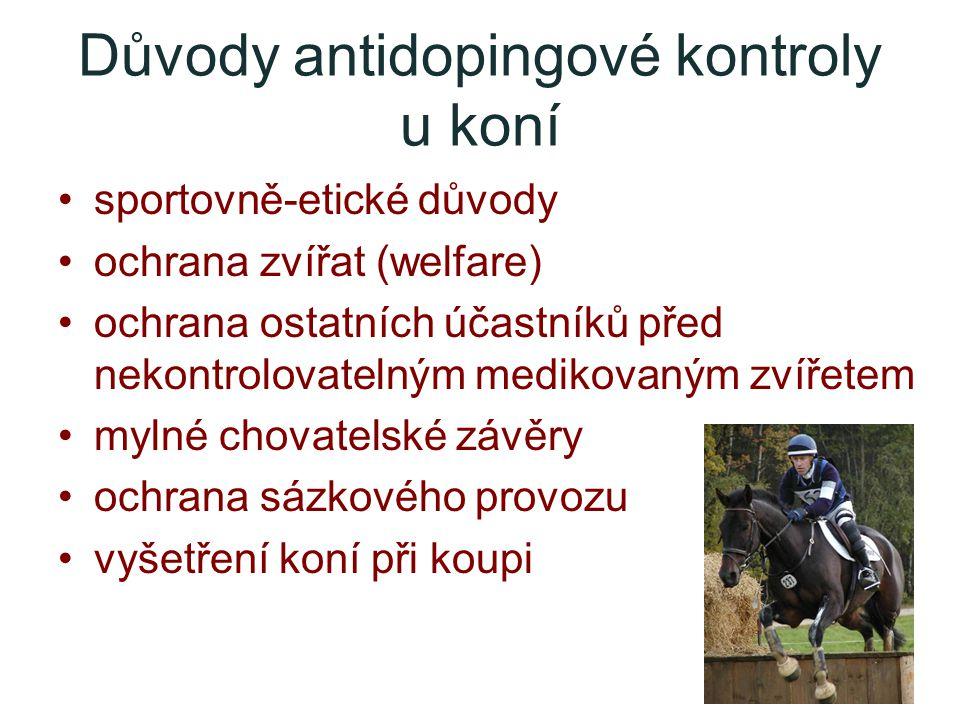 Důvody antidopingové kontroly u koní