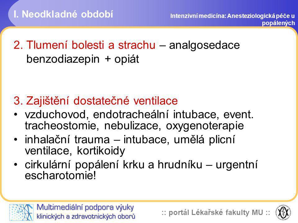 2. Tlumení bolesti a strachu – analgosedace benzodiazepin + opiát