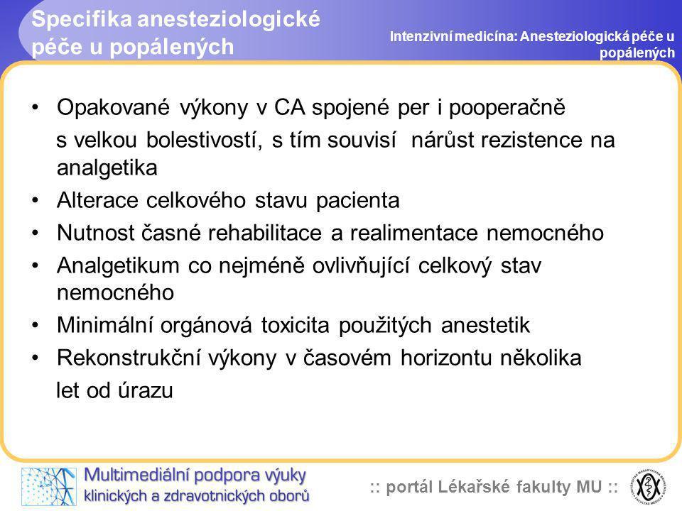 Specifika anesteziologické péče u popálených