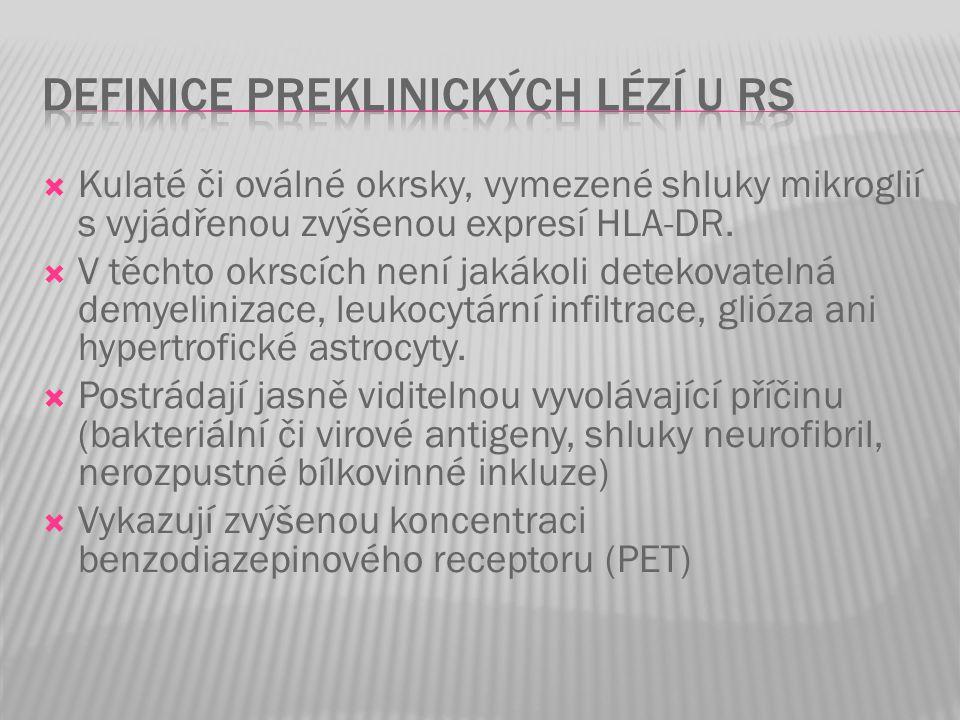Definice preklinických lézí u RS