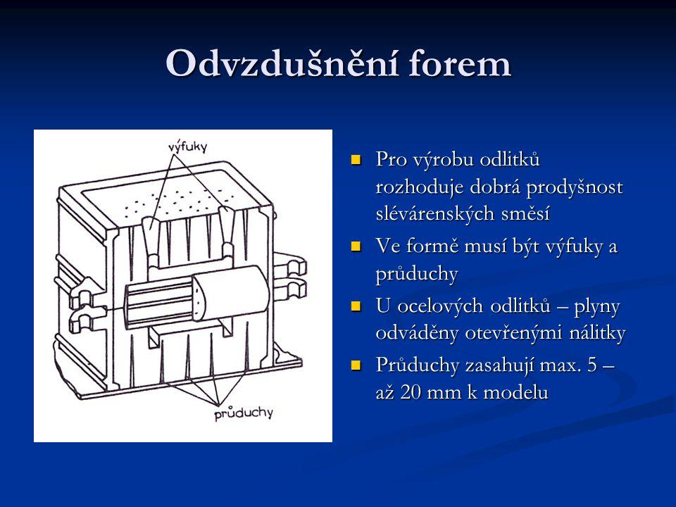 Odvzdušnění forem Pro výrobu odlitků rozhoduje dobrá prodyšnost slévárenských směsí. Ve formě musí být výfuky a průduchy.