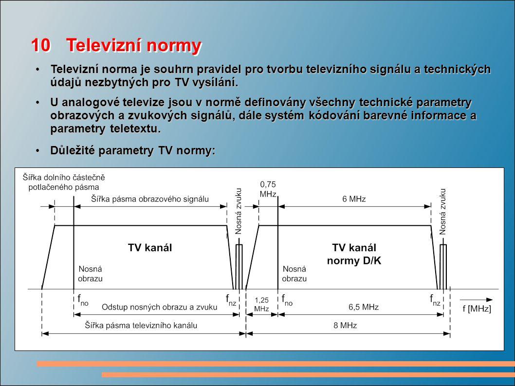 10 Televizní normy Televizní norma je souhrn pravidel pro tvorbu televizního signálu a technických údajů nezbytných pro TV vysílání.