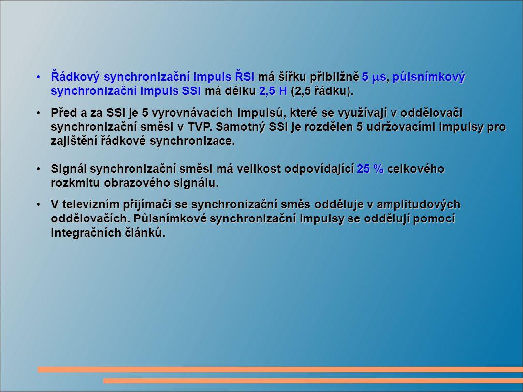 Řádkový synchronizační impuls ŘSI má šířku přibližně 5 ms, půlsnímkový synchronizační impuls SSI má délku 2,5 H (2,5 řádku).