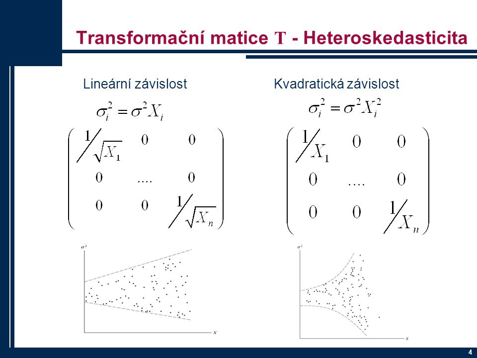 Transformační matice T - Heteroskedasticita