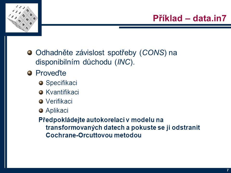 Příklad – data.in7 Odhadněte závislost spotřeby (CONS) na disponibilním důchodu (INC). Proveďte. Specifikaci.